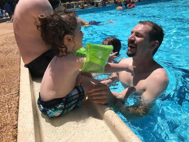 Rami and Esh at the pool this summer